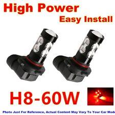 2x 60W Car Leds Red Lamp High Power Fog Light Bulbs H8 For 13-16 Honda Civic Si