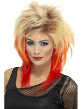 80er Mullet Wig Blonde with Red Streaks