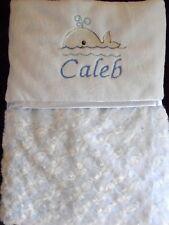Personnalisé ROSEBUD baby blanket Embroiderded baleine Motif Bleu Garçon Cadeau