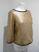 NIGHT by SuiteBlanco old gold sequin boxy short open back top L 12 14 VGC