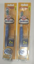 (2) Arm & Hammer Slim Sonic Pulse Powered Soft Toothbrush 2X Plaque Remove Blue