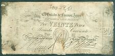 ARGENTINE (PICK SPECIALISE S.418) 1-5-1856 BILLETS DE 20 PESOS BUENOS AYRES