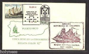 BUQUE ESCUELA GLORIA COLOMBIA / SOBRE POSTAL / PICTORIAL COVER 92  PUERTO RICO