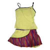 Nike Completo Tennis giallo fantasia multicolor canotta gonna 373943 394 donna