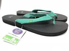 Sanuk Yoga Zen Flip Flop Sandal SWS10572 Hot Turquoise Open Toe Thong Womens New