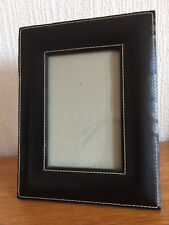 BLACK LEATHER PLUSH BACKED PHOTO FRAME PORTRAIT / PANORAMA  3 1/2in x 5 1/2in