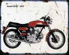 Ducati 750Gt 73 A4 métal signe Moto Vintage Aged