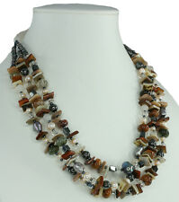 Agate Hematite Carnelian Pearl Mother of Pearl Gemstone 16.5 inch Necklace