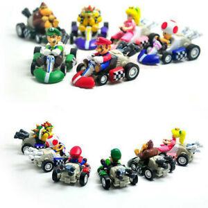 6pcs Super Mario Kart Pull Back Car Luigi Toad Bowser Princess Figure Toys Gift