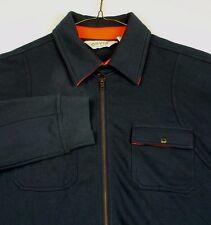 Orvis Fleece Zip Front Jacket Coat Blue Orange Trim Large EUC