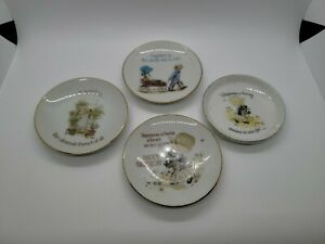 Holly Hobbie 4 Small 4inch Plates w/Gold Trim Sister Birthday Happiness Together