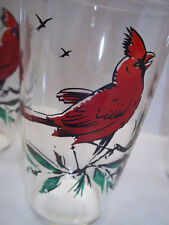 Set of 3 Red Cardinal Drinking Glasses