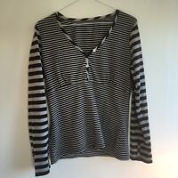 Long Tall Sally Top Size S Stripey Long Sleeves Grey Navy
