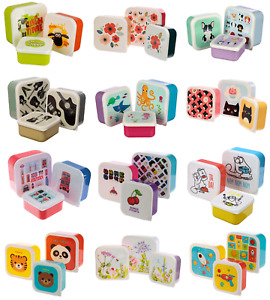 Set Of 3 Small Child Kids Boys Girl Adult Plastic Snack Sandwich Lunch Box Boxes