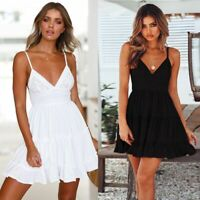 Womens Short Sleeve Strappy Summer Holiday Party Bodycon Beach Short Mini Dress