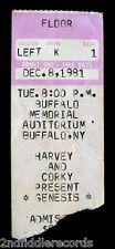 GENESIS-Rare Original December 8, 1981 Concert Ticket-Buffalo, NY-PHIL COLLINS