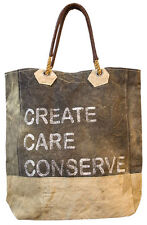 Mona B CREATE CARE CONSERVE CANVAS TOTE Recycled Distressed Leather Drop Handles