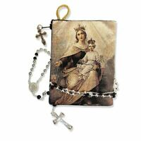 Reversible Blessed Virgin Mary Our Lady of Mount Carmel Icon Rosary Pouch 5 3/8