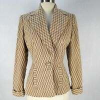 Vintage 40s Nobility Checker Plaid Hourglass Blazer Jacket S Beige Novelty Grid
