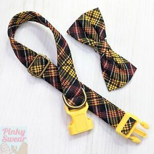"Yellow Classic Plaid Dog Collar & Bow Large L XL 16""-22"" Cotton Brass Handmade"