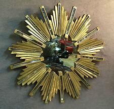 Glace / miroir soleil doré à baguettes de résine et de miroir Diam : 72 cm