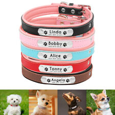 Personalized Dog Cat Leather Collars Custom Name Tags Engraved Small Medium Dogs