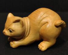 "Y7460b - Stunning 2"" Hand Carved Boxwood Netsuke: Vivid Cat"