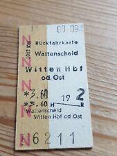 Deutsche Bahn Alte Rückfahrkarte Personenzug Wattenscheid nach Witten 1976