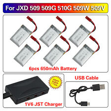 JXD 509G 509W 510G FPV RC Drone Spare Parts 3.7V 650mAh Lipo Battery+1V6 Charger