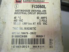 NEW CUTLER HAMMER FI-3060L  FI3060L/ Fi 100 60A 3 Pole Breaker Distressed Box