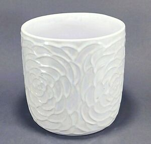 Flower Embossed White Iridescent Planter Vase