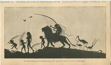 ANTIQUE SILHOUETE LION HARP EXOTIC BIRDS SERPENT SNAKE FERNS CHILDREN ART PRINT