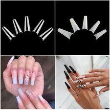 Coffin Shaped Ballerina False Nail Tips C Curve Half Cover 12 Size Clear Natural