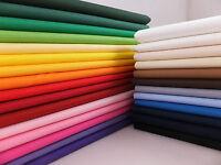 Plain Solid Colour Polycotton Fabric - Sold per metre (Various Colours)
