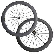 60mm clincher 25mm wide 700c carbon wheels U shape basalt brake surface A271SB