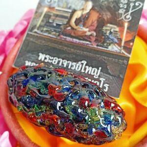 Leklai Kaew Takrut Rainbow Stone Buddha Pendant Amulet power Heal Protect