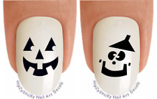 "Nail Decals #746H HALLOWEEN ""Smiley Pumpkin Face 1"" WaterSlide Nail Art Transfer"