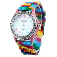 Women  Silicone Crystal Bling Analog Digital Quartz Wrist Watch Color:Pink