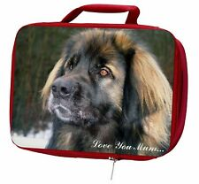 More details for black leonberger 'love you mum' insulated red school lunch box/pic, ad-l56lymlbr