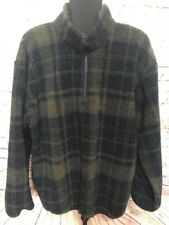 Vintage Nautica 1/4 Zip Fleece Sherpa Pullover Jacket  XL Plaid Made USA Limited