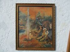 Antique Vintage Framed Folk Art Naive Watercolor of Native American over Fire