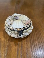 Vintage Folk Art Seashell Sea Shell Trinket Jewelry Box  Beach Decor