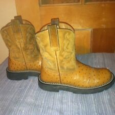 ARIAT 7B leather western cowboy boots FAT Baby, full quill ostrich, butterscotch