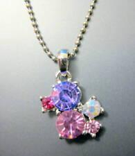 chapado oro blanco morado rosa Cristal austriaco collar