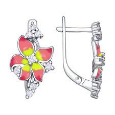 Enamel Cz 925 Silver Earrings New Sokolov Flowers Pink & Yellow