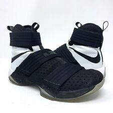 24b6e1b961e5 NIKE LEBRON SOLDIER 10 X SFG Men s Basketball Shoes 844378-001 Black White  Sz 9