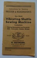 Original Frister & Rossmann Vibrating Shuttle Sewing Machine Instruction Manual