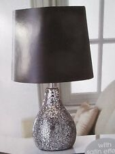 CRACKLE BLACK  MOSAIC LARGE TABLE LAMP WITH BLACK SHADE NEXT DAY POST AVAILABLE