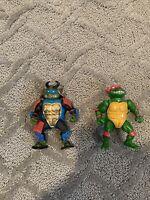 Vintage Teenage Mutant Ninja Turtle Lot Of 2 Figures Sewer Leonardo, Wacky Raph
