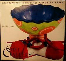 """Fitz & Floyd (2003) """"Clowning Around� 4¼"""" Circus Clown Shoe Laces Candy Bowl"""